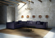 Vintage concrete grungy wall, modern interior, purple sofa, rug