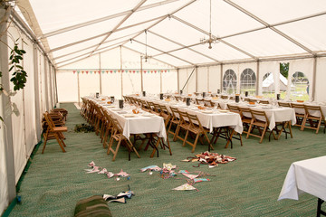 Dinner tent in stages of preparation