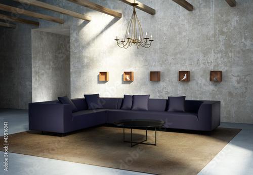 Vintage concrete grungy wall, modern interior, purple sofa, rug