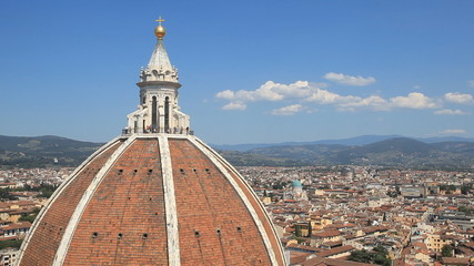 Looking across the rooftops of Florence in Italy