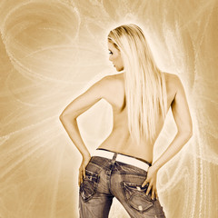Sexy back of a woman wearing jeans over golden background