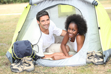 Couple in their tent
