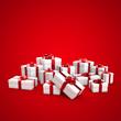 Geschenkverpackungen mit rotem Band