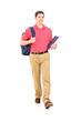 Full length portrait of a male student walking