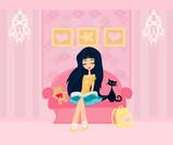 Teen girl Reading A Book poster