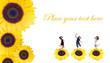 Karte mit Sonnenblumen und springenden Mädchen