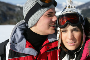 Couple on romantic skiing holiday