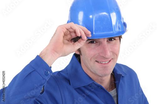 Portrait of blue helmet