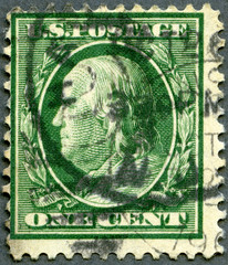 USA - 1908: shows portrait of Benjamin Franklin (1706-1790)