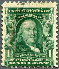 USA - 1903: shows portrait of Benjamin Franklin (1706-1790)