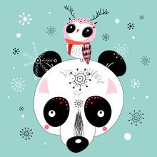 winter postcard of a panda and owl
