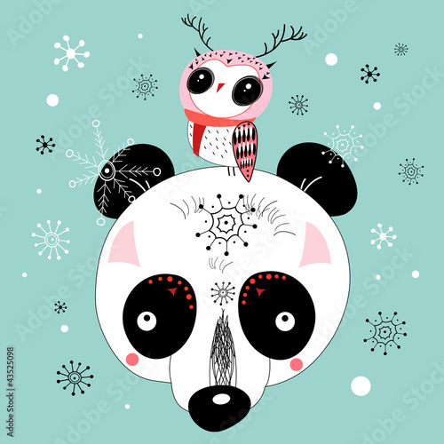 winter postcard of a panda and owl