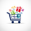 Logo discount. Shopping cart and gift packs # Vector