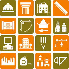 Architecture, construction, buildings and tools icons