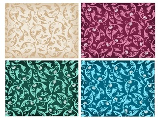 Set of damask pattern
