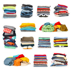 stacks of clothing collection isolated on white