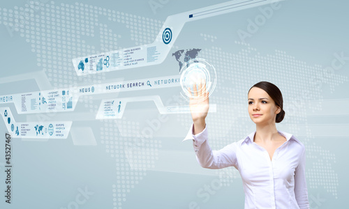 Businesswoman and touch screen technology