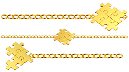Set of shiny gold chains with puzzles