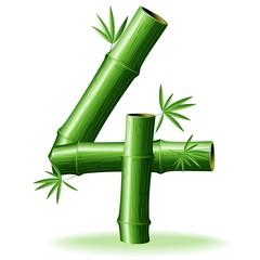 Bambù Numero 4-Bamboo Logo Sign Number 4-Vector