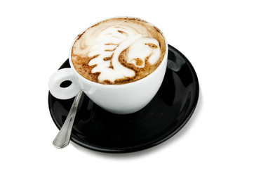 cup of cappuccino with artistic cream decoration indian design