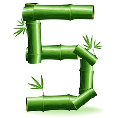 Bambù Numero 5-Bamboo Logo Sign Number 5-Vector