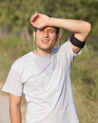 Tired Young Man After Jogging