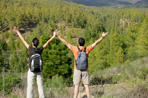 Hikers appreciating the view