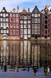 Canal houses of Amsterdam, The Netherlands with reflections