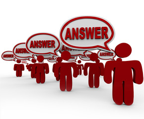 Answer People Crowd Speech Bubbles Sharing Answers
