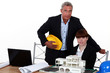 female architect in office with male counterpart