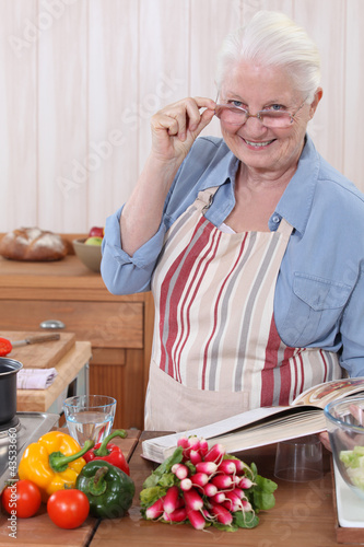 Woman with a cookbook
