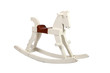 White wooden rocking horse chair children