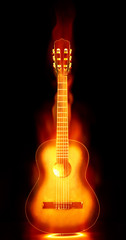 flaming guitar on fire
