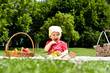 Baby On Picnic With Fruits - 43535882