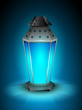 Intricate Arabic lamp with lights on shiny blue background. EPS