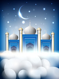 Shiny Mosque or Masjid on beautiful shiny blue background with m