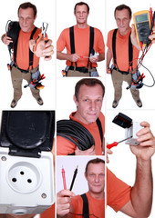 Montage of an electrician
