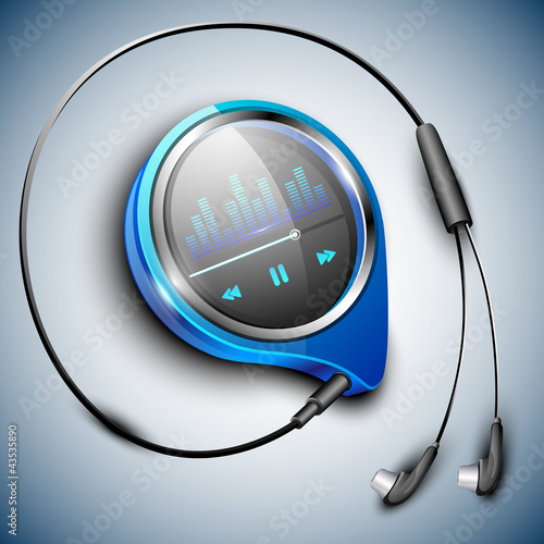 MP3 player with earphones. EPS 10.