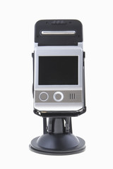 car video recorder in black on the suction cup to the glass