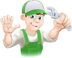 Plumber or mechanic with spanner