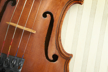 violin on musical sheet