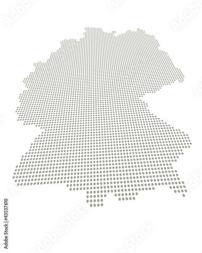 Perspektivisch verzerrte Deutschlandkarte mit Punktraster