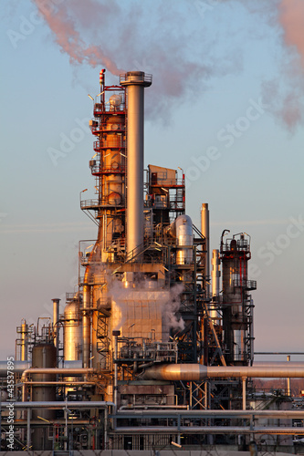 Smoke from the pipes on oil and gas refinery