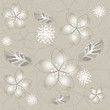 Detaily fotografie Seamless grey silver flower wallpaper
