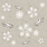 Seamless grey silver flower wallpaper