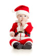 cute baby in Santa Claus clothes