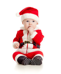 cute baby in Santa Claus clothes