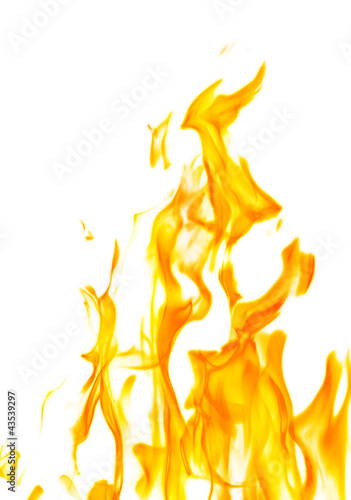 isolated on white dark yellow flame