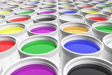 Latas de pintura de colores