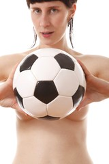 sexy nude woman with classic ball (white background)